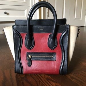 Authentic Celine Micro Nano Luggage Tri-color bag